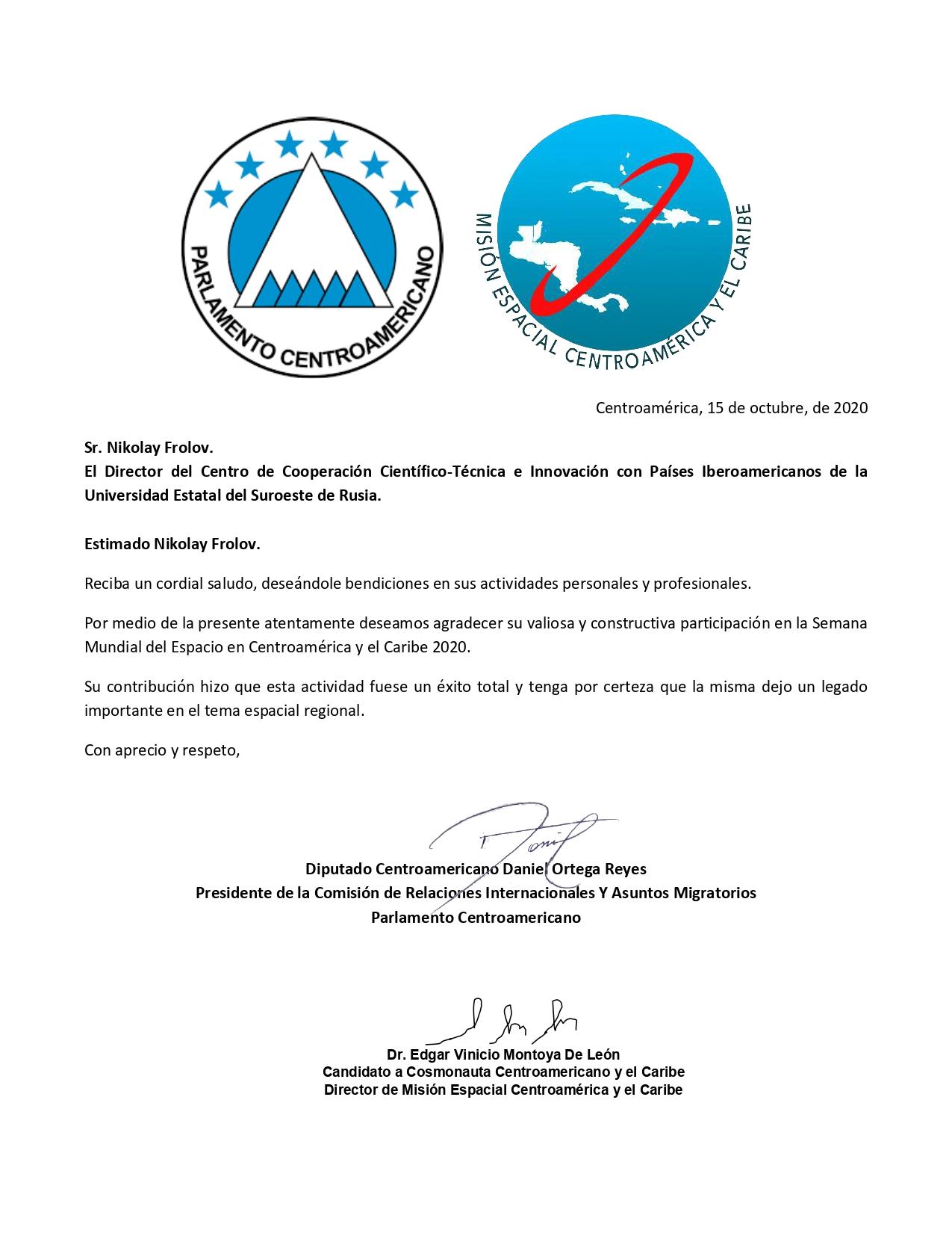 Carta de Agradecimiento PARLACEN Y Misión Espacial Centroamérica y El Caribe